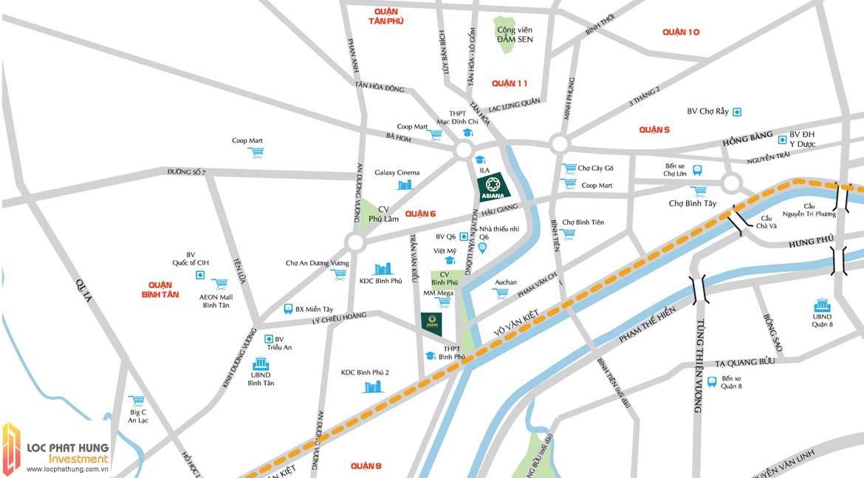 Vị trí địa chỉ dự án căn hộ chung cư Asiana Capella đường Trần Văn Kiểu Quận 6
