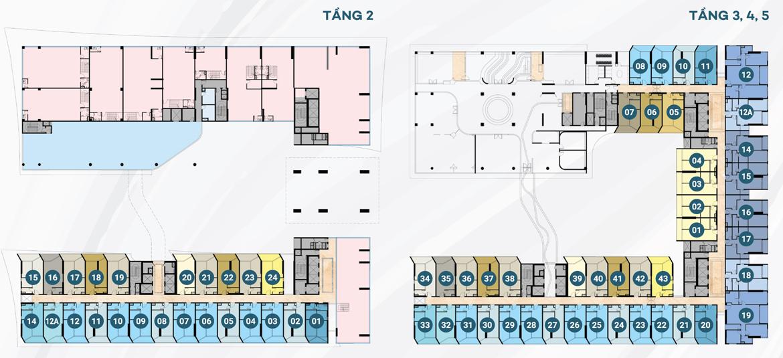 Mặt bằng tầng 2 dự án căn hộ du lịch condotel The Sóng Vũng Tàu
