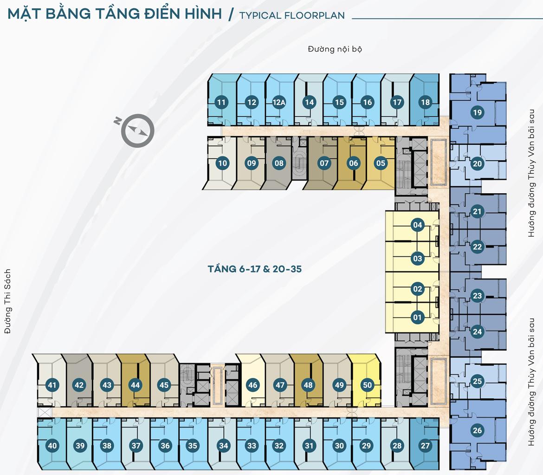 Mặt bằng tầng 6-17 & 20-35 dự án căn hộ du lịch condotel The Sóng Vũng Tàu
