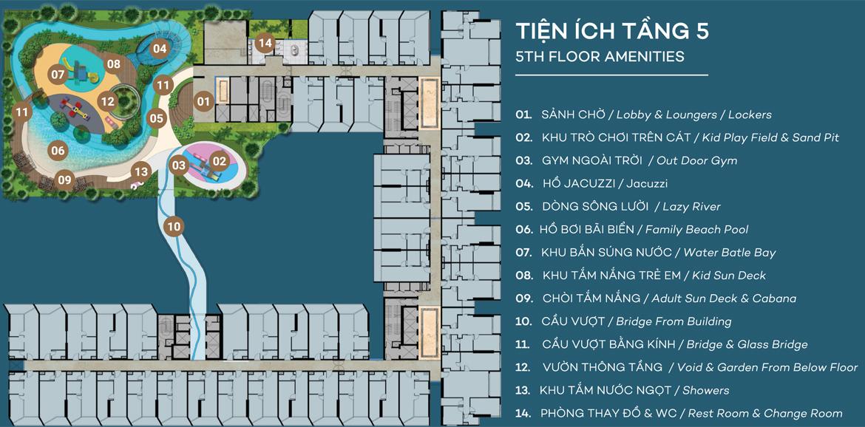 Mặt bằng tầng 5 dự án căn hộ du lịch condotel The Sóng Vũng Tàu
