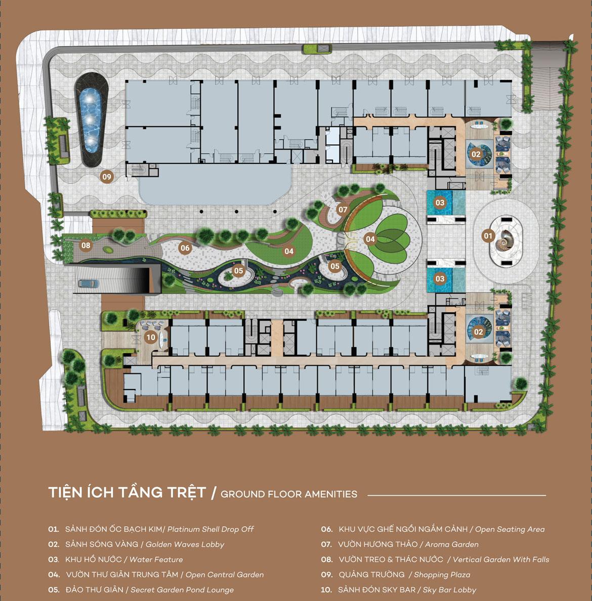 Mặt bằng tầng trệt dự án căn hộ du lịch condotel The Sóng Vũng Tàu