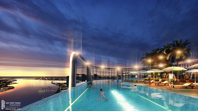 Hồ bơi tại tầng sân thượng view toàn cảnh căn hộ chung cư Sunshine Diamond River Quận 7