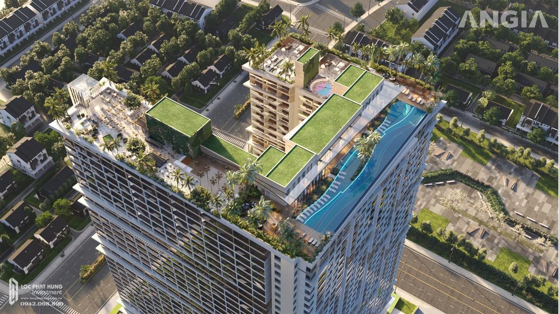 Sân thượng căn hộ du lịch condotel The Sóng Vũng Tàu được đầu tư nhiều tiện ích với Sky Bar Root top và thang máy Panorama view toàn cảnh Vũng Tàu