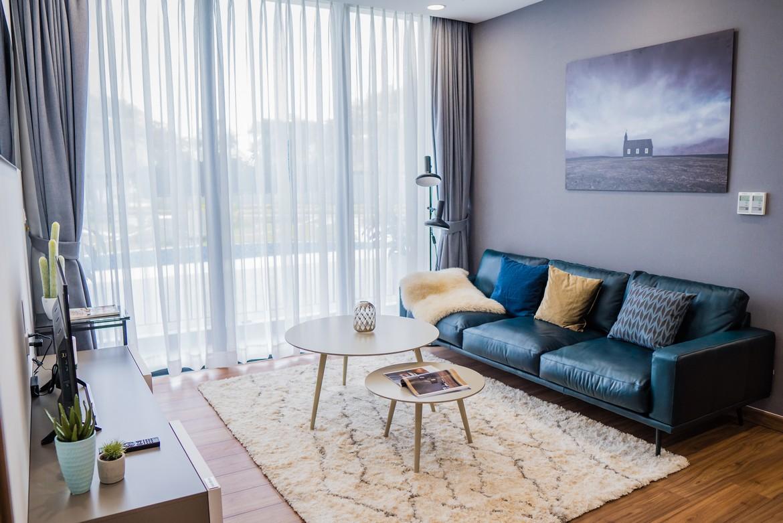 Thiết kế phòng khách nhà mẫu căn hộ 3 phòng ngủ dự án Eco Green Sài Gòn Quận 7
