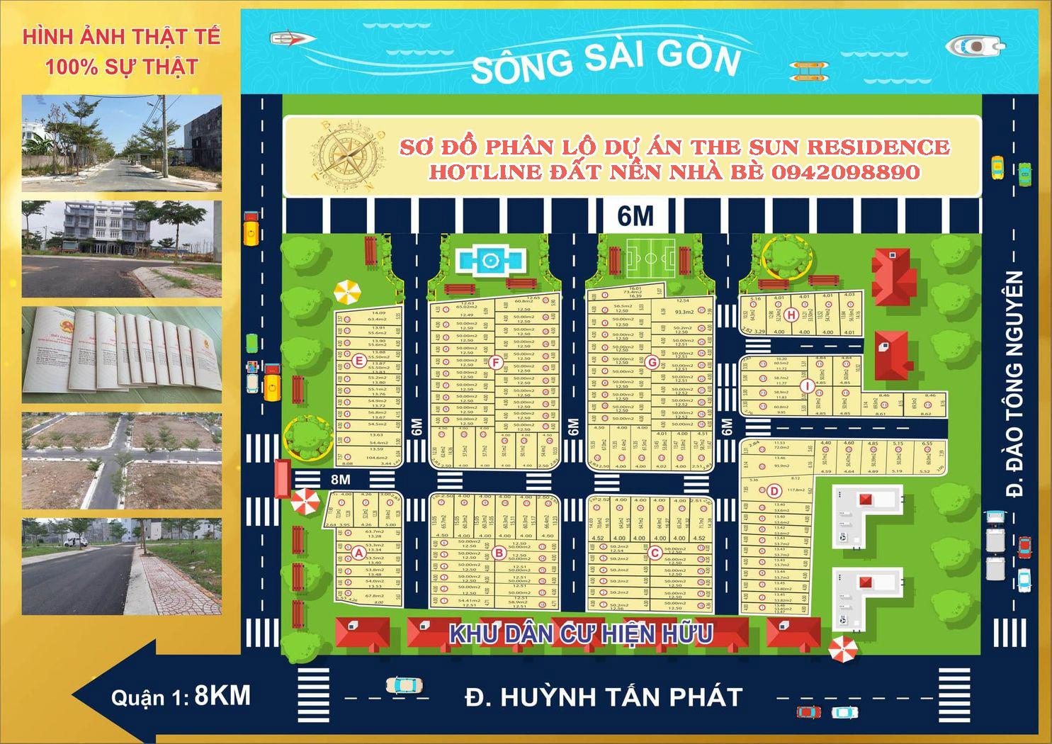 Sơ đồ mặt bằng phân lô dự án The Sun Residence đường Huỳnh Tấn Phát Nhà Bè