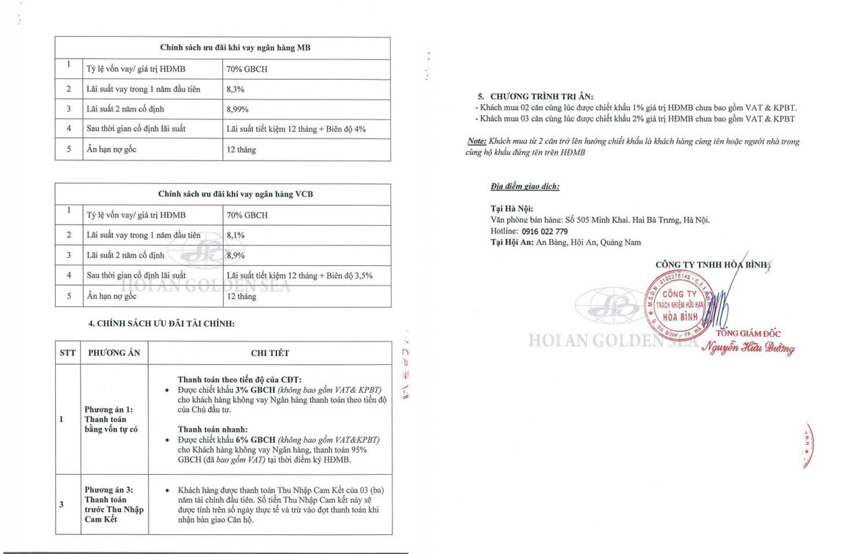 Phương thức thanh toán dự án căn hộ condotel Hội An Golden Sea Đường Nguyễn Phan Vinh chủ đầu tư Hòa Bình