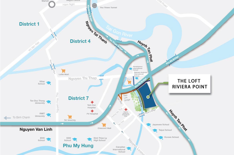 Vị trí địa chỉ dự án căn hộ chung cư The Loft Riviera Point Quận 7 Đường Huỳnh Tấn Phát chủ đầu tư Keppel Land
