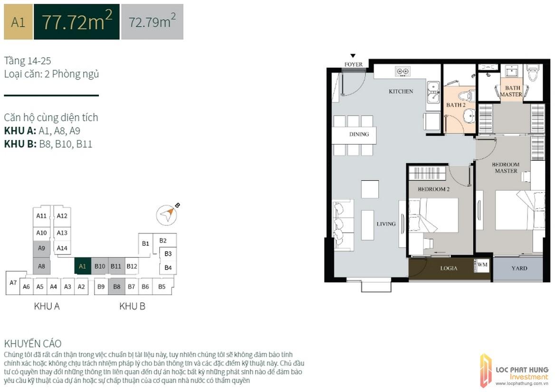 Thiết kế căn hộ diện tích 77.22m2 dự án căn hộ chung cư La Cosmo Residences Quận Tân Bình Đường Hoàng Văn Thụ chủ đầu tư An Gia Hưng –SGD BĐS Lộc Phát Hưng 0942.098.890