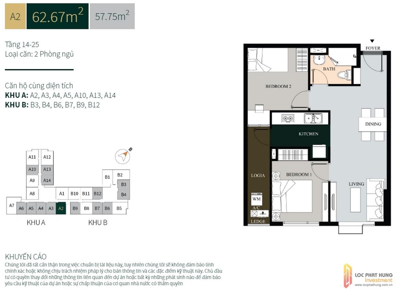 Thiết kế căn hộ diện tích 62m2 dự án căn hộ chung cư La Cosmo Residences Quận Tân Bình Đường Hoàng Văn Thụ chủ đầu tư An Gia Hưng –SGD BĐS Lộc Phát Hưng 0942.098.890