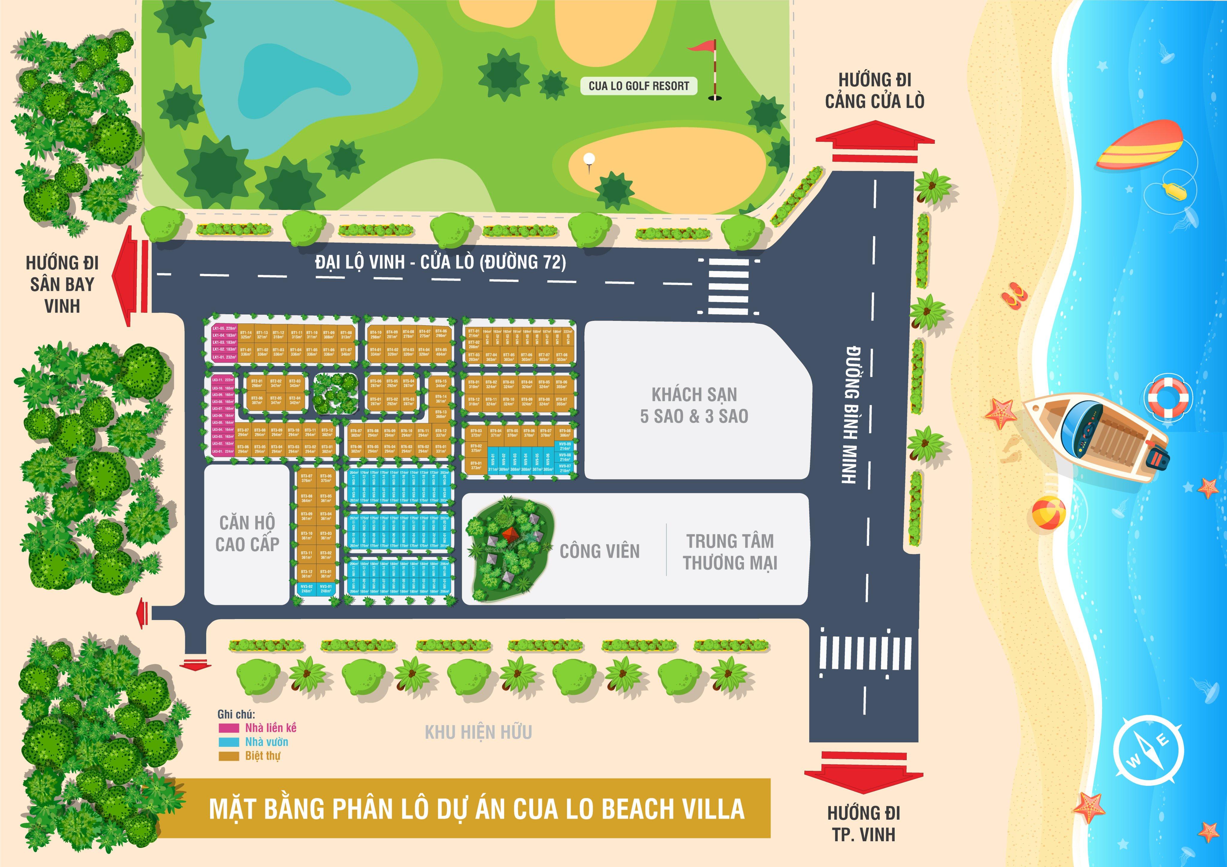 Mặt bằng phân lô dự án Cửa Lò Beach Villa