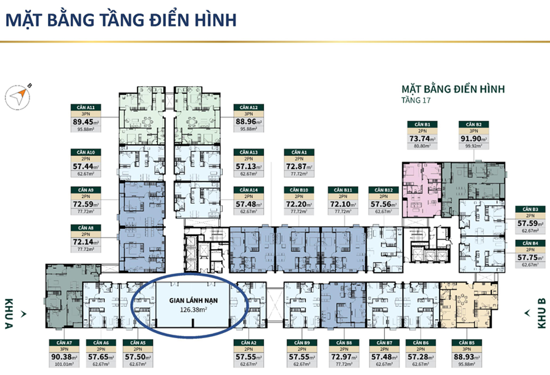 Mặt bằng tầng 17 có gian lánh nạn căn hộ chung cư Lacosmo Residences Quận Tân Bình