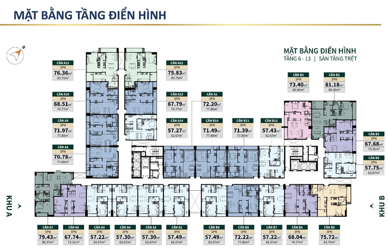 Mặt bằng tầng điển hình căn hộ chung cư Lacosmo Residences Quận Tân Bình