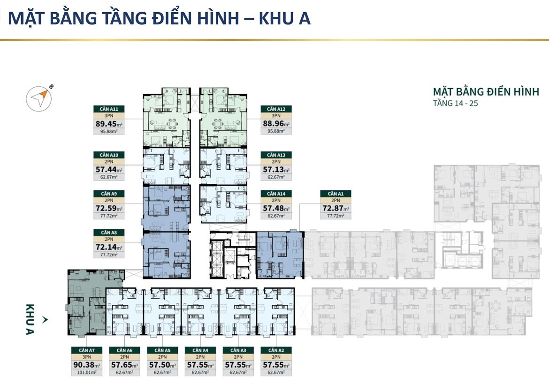 Mặt bằng tầng điển hình khu A căn hộ chung cư Lacosmo Residences Quận Tân Bình