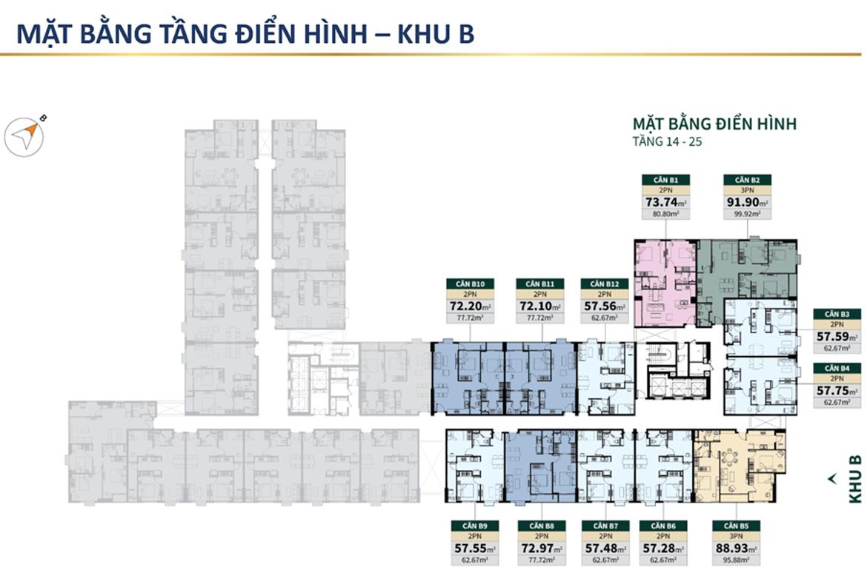 Mặt bằng tầng điển hình khu B căn hộ chung cư Lacosmo Residences Quận Tân Bình