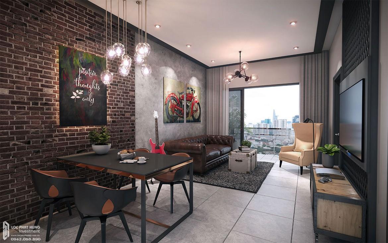 Thiết kế phòng khách căn hộ mẫu dự án căn hộ Define Capitaland Quận 2.