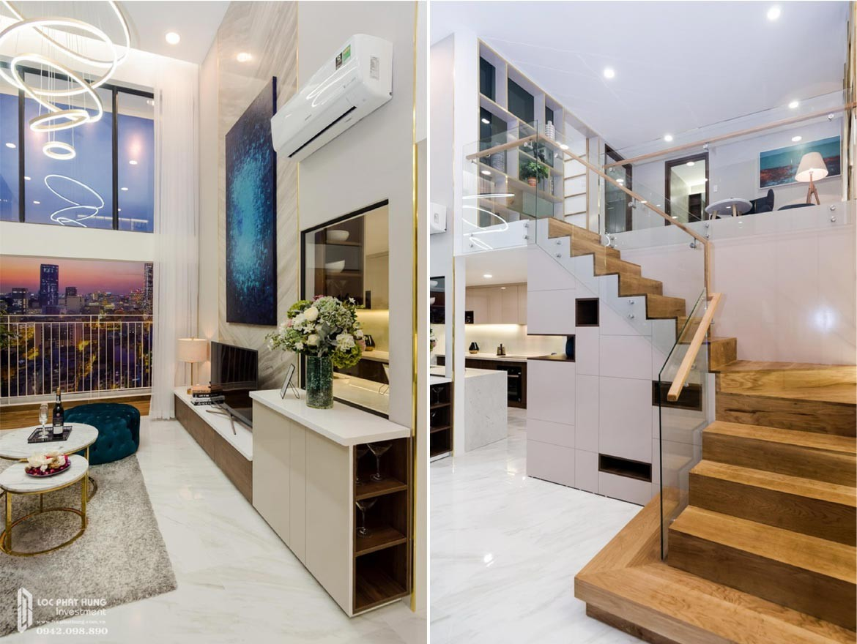 Thiết kế phòng khách căn hộ mẫu có lửng dự án chung cư La Consmo Residences Quận Tân Bình – Liên Hệ SGD BĐS Lộc Phát Hưng 0942.098.890 Xem nhà mẫu + Nhận báo giá