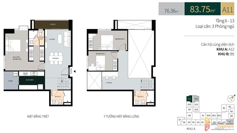 Thiết kế căn hộ diện tích trệt87.35m2có lửng dự án căn hộ chung cư La Cosmo Residences Quận Tân Bình Đường Hoàng Văn Thụ chủ đầu tư An Gia Hưng
