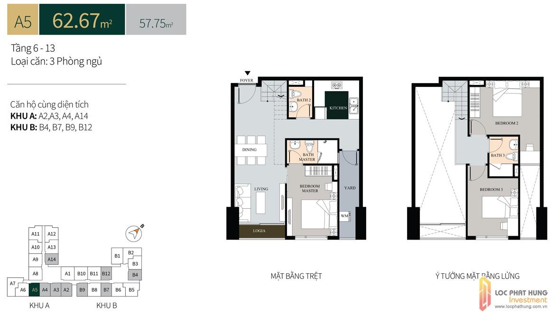 Thiết kế căn hộ diện tích trệt62.67m2có lửng dự án căn hộ chung cư La Cosmo Residences Quận Tân Bình Đường Hoàng Văn Thụ chủ đầu tư An Gia Hưng