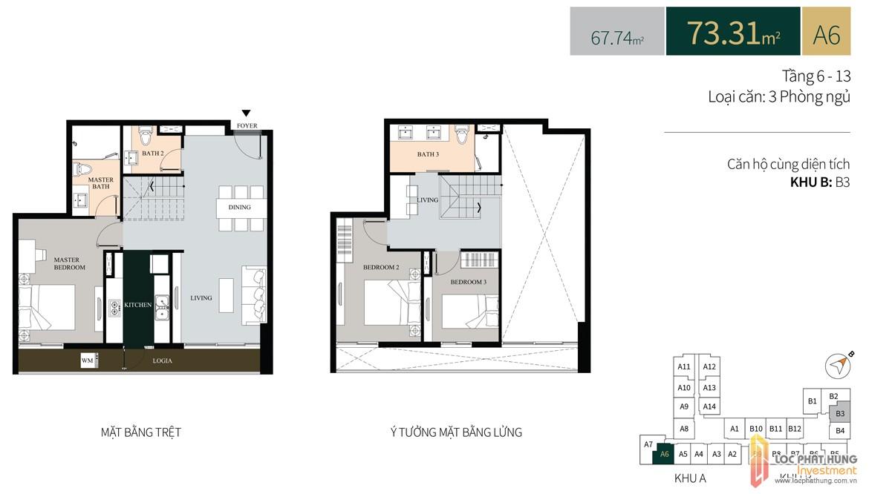 Thiết kế căn hộ diện tích trệt73.31m2 có lửng dự án căn hộ chung cư La Cosmo Residences Quận Tân Bình Đường Hoàng Văn Thụ chủ đầu tư An Gia Hưng