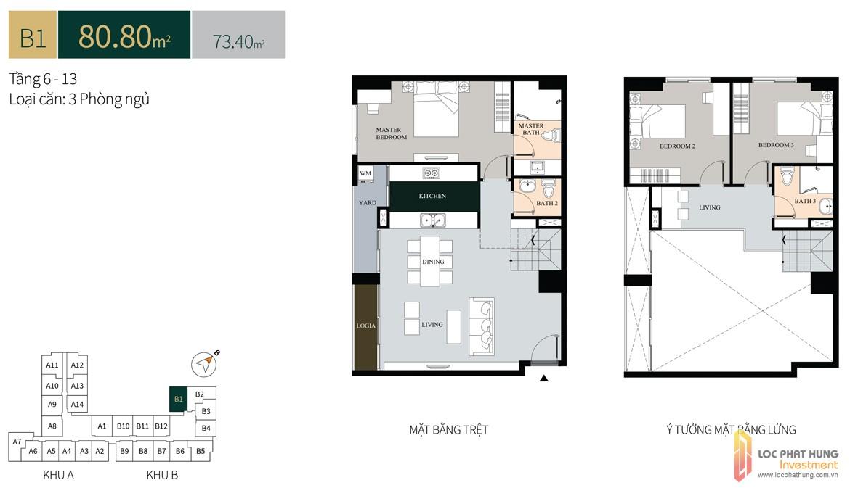 Thiết kế căn hộ diện tích trệt80.8m2có lửng dự án căn hộ chung cư La Cosmo Residences Quận Tân Bình Đường Hoàng Văn Thụ chủ đầu tư An Gia Hưng
