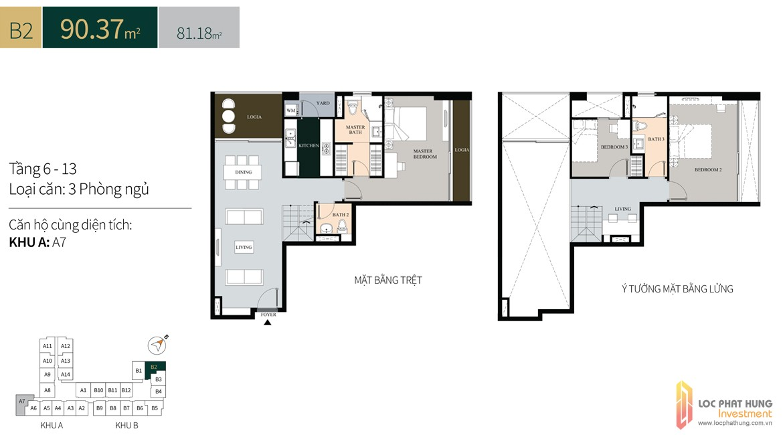 Thiết kế căn hộ diện tích trệt90.37m2có lửng dự án căn hộ chung cư La Cosmo Residences Quận Tân Bình Đường Hoàng Văn Thụ chủ đầu tư An Gia Hưng