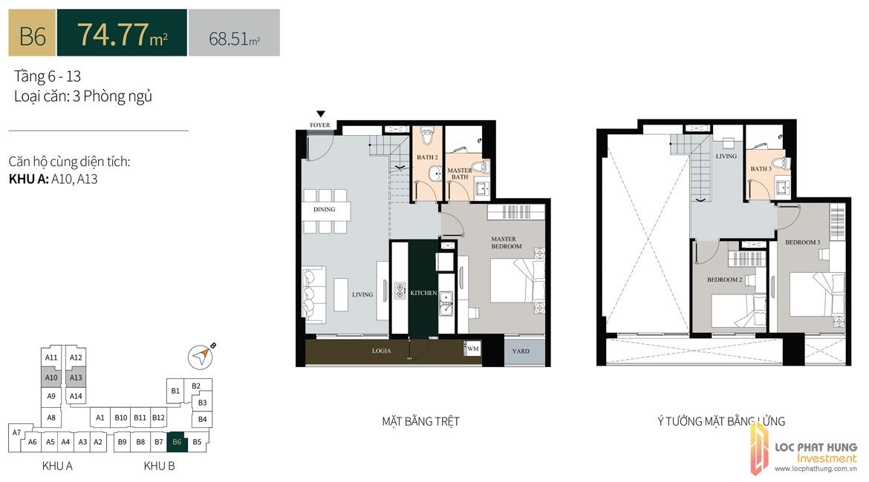 Thiết kế căn hộ diện tích trệt74.77m2có lửng dự án căn hộ chung cư La Cosmo Residences Quận Tân Bình Đường Hoàng Văn Thụ chủ đầu tư An Gia Hưng