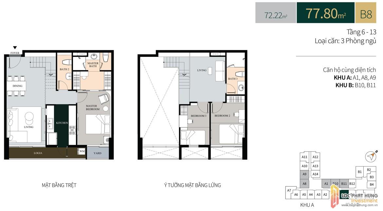 Thiết kế căn hộ có lửng diện tích trệt77.8m2dự án căn hộ chung cư La Cosmo Residences Quận Tân Bình Đường Hoàng Văn Thụ chủ đầu tư An Gia Hưng