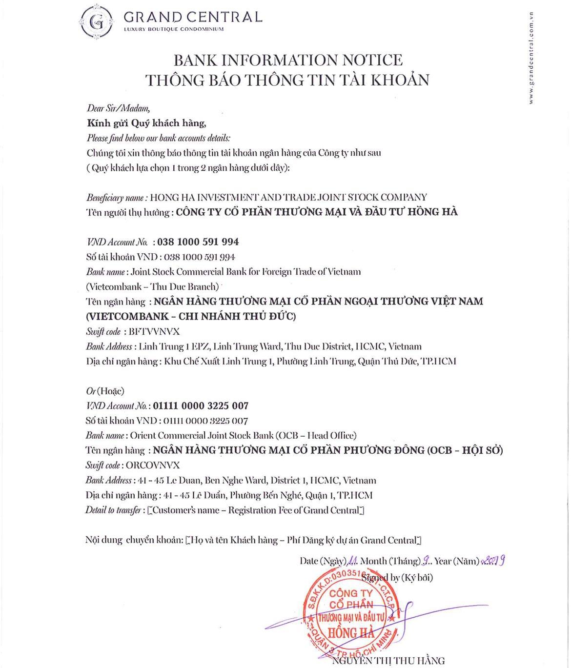 Thông tin tài khoản chủ đầu tư Hồng Hà dự án Grand Central Quận 3