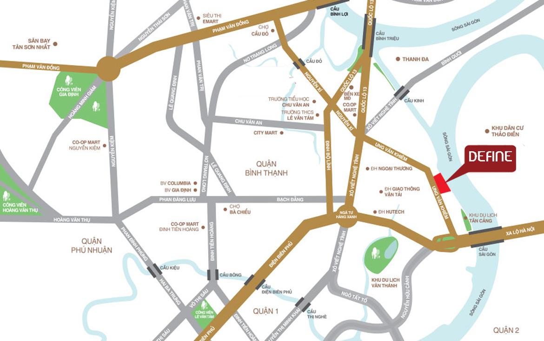 Vị trí địa chỉ dự án căn hộ chung cư Define Quận 2 Đường Thạnh Mỹ Lợi chủ đầu tư Captaland