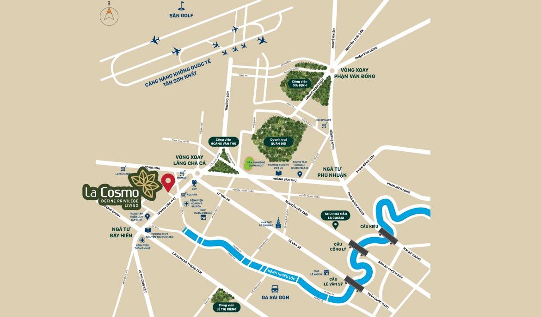 Vị trí địa chỉ dự án căn hộ chung cư La Cosmo Residences Quận Tân Bình Đường Hoàng Văn Thụ chủ đầu tư An Gia Hưng