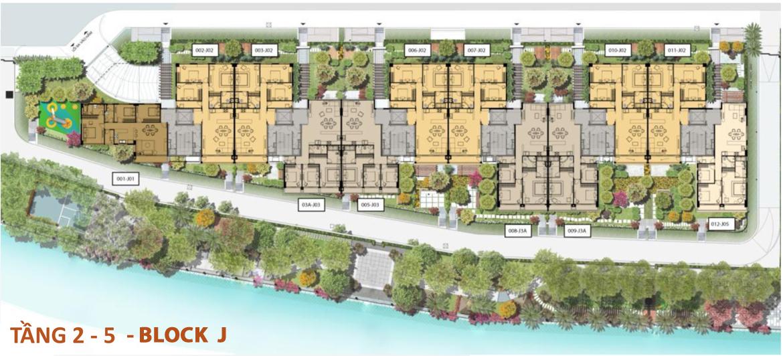 Mặt bằng tầng 2-5 căn hộ Panomax River Villa Block J đường Đào Trí Quận 7
