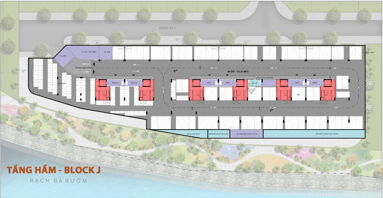 Mặt bằng tầng hầm căn hộ Panomax River Villa Block J đường Đào Trí Quận 7