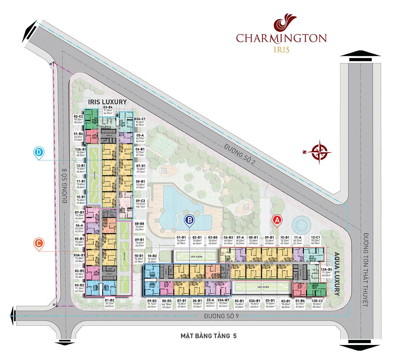 Mặt bằng chi tiết dự án Charmington Iris - Tầng 5