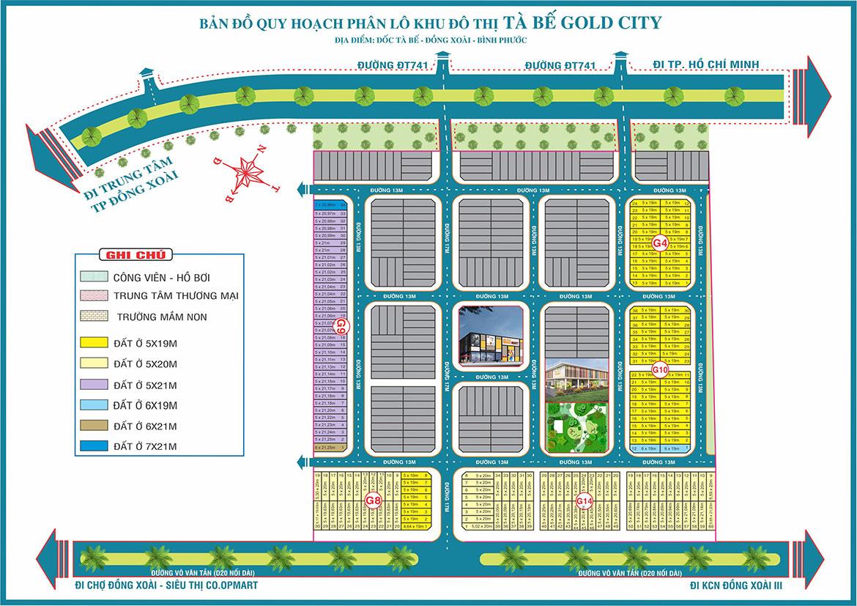 Mặt bằng chi tiết khu đô thị Tà Bế Gold City