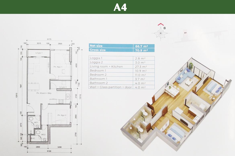 Thiết kế chi tiết căn A4 Block HR3 dự án căn hộ Eco Green Sài Gòn Quận 7