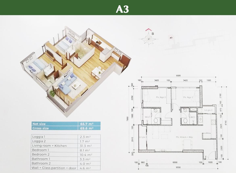 Thiết kế chi tiết căn A3 Block HR3 dự án căn hộ Eco Green Sài Gòn Quận 7