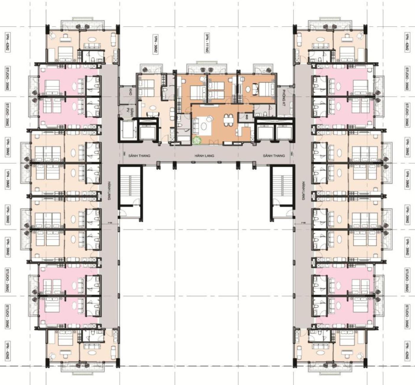 Mặt bằng thiết kế chi tiết căn hộ condotel Sim Island Phú Quốc
