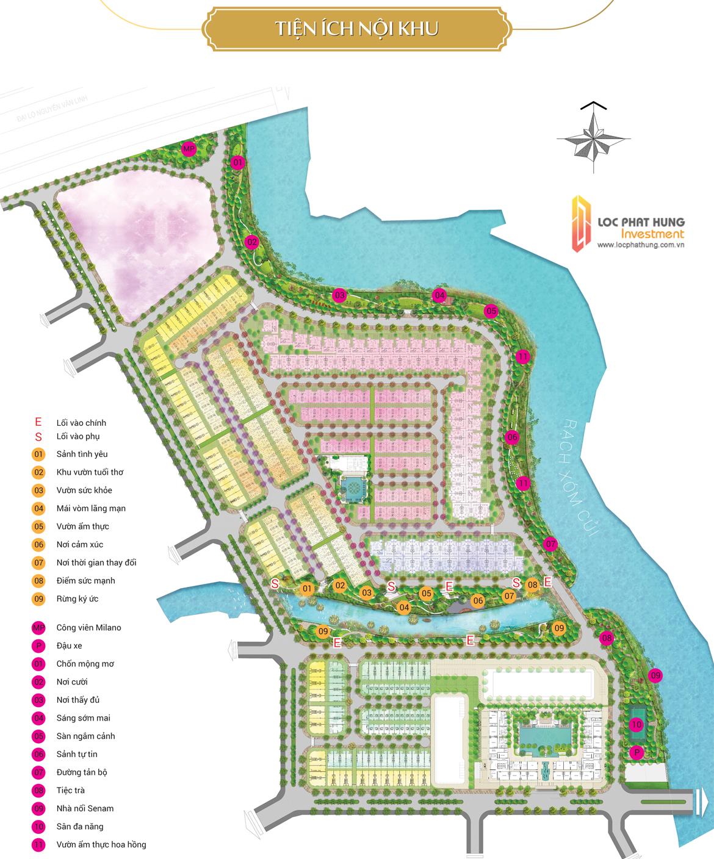 Mặt bằng tiện ích tổng thể dự án nhà phố căn hộ Senturia Nam Sài Gòn Bình Chánh