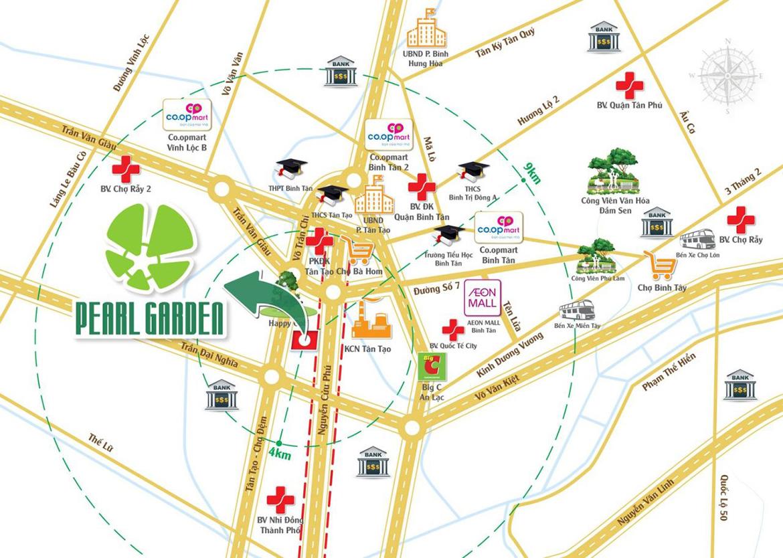 Vị trí địa chỉ dự án đất nền nhà phố Pearl Garden Bình Tân Đường Nguyễn Cửu Phú