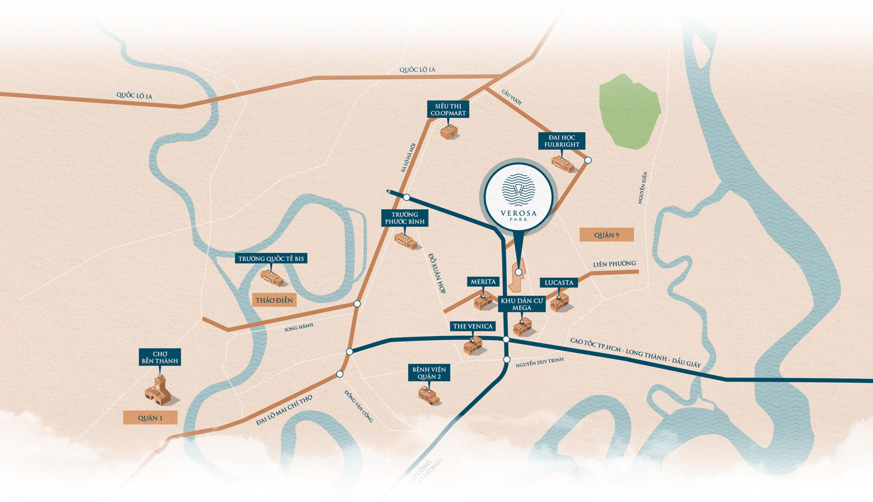 Vị trí địa chỉ dự án Verosa Park Khang Điền Quận 9