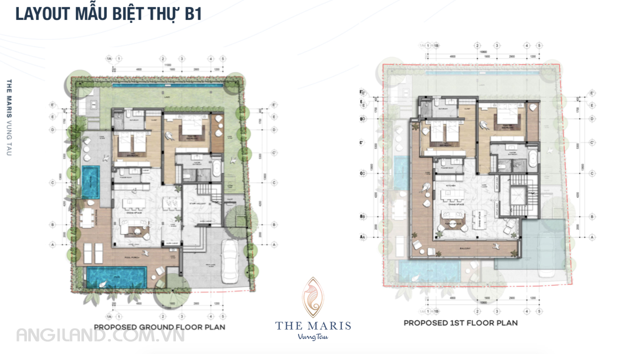 Thiết kế Layout mẫu biệt thự B1 dự án The Maris Vũng tàu