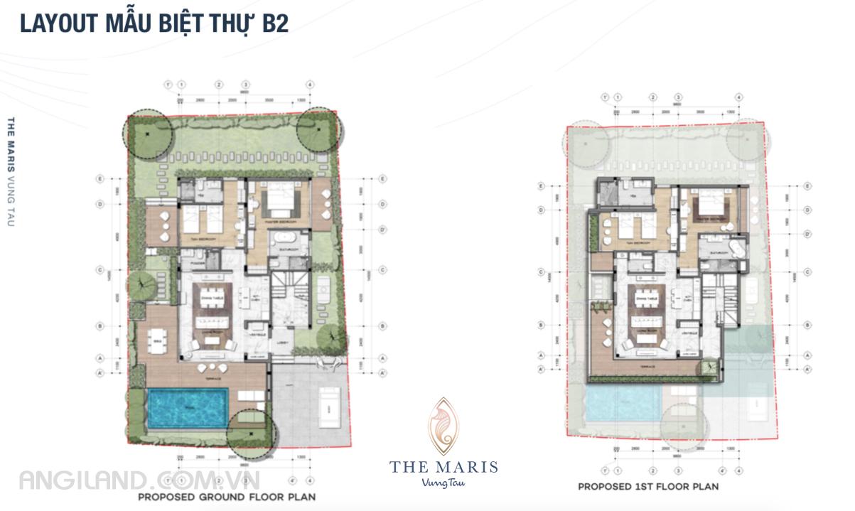 Thiết kế Layout mẫu biệt thự B2 dự án The Maris Vũng tàu