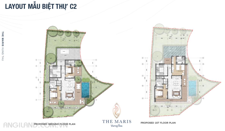 Thiết kế Layout mẫu biệt thự C2 dự án The Maris Vũng tàu