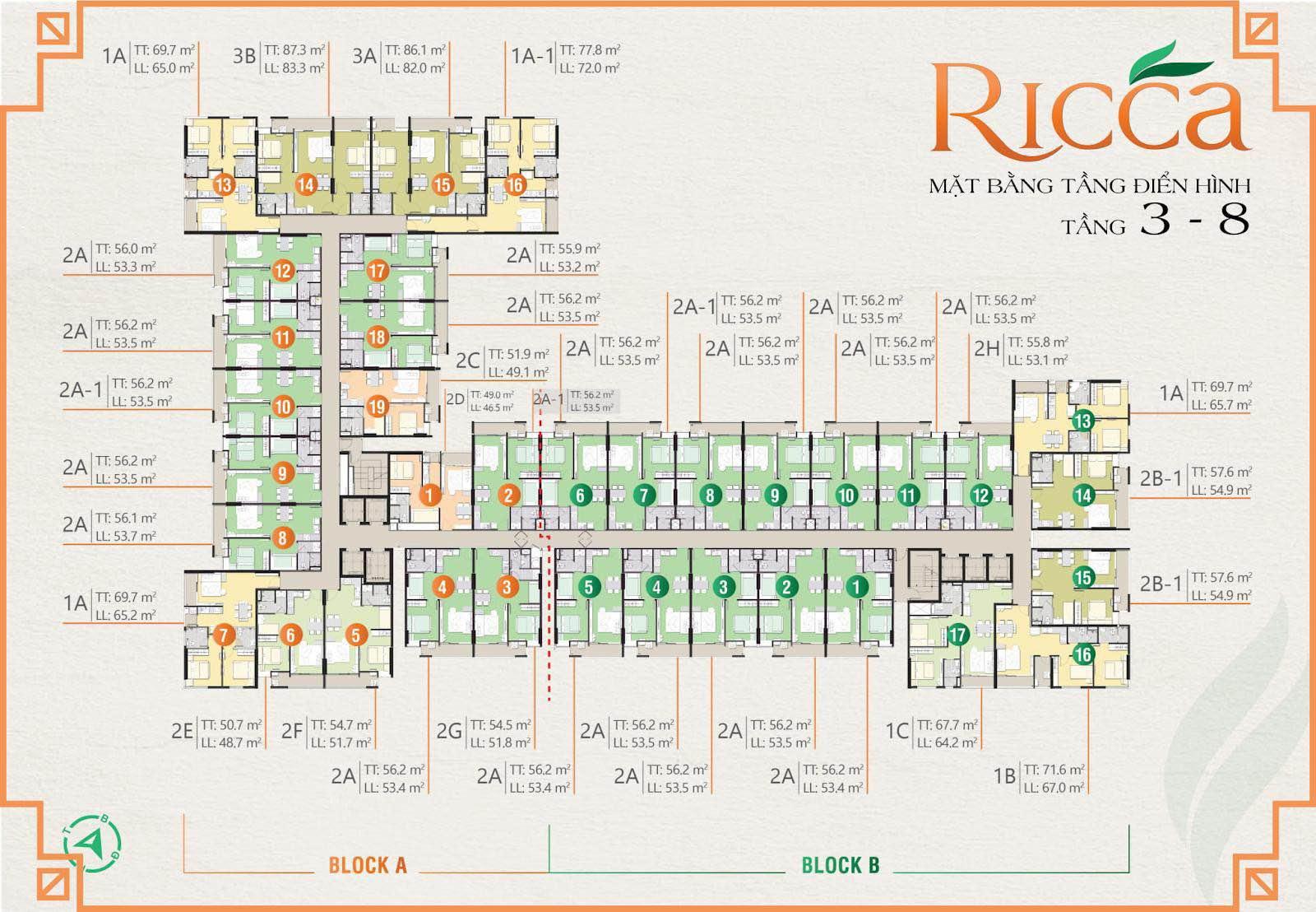 Mặt bằng chi tiết dự án căn hộ Ricca Quận 9 từ tầng 3 đến tầng 8