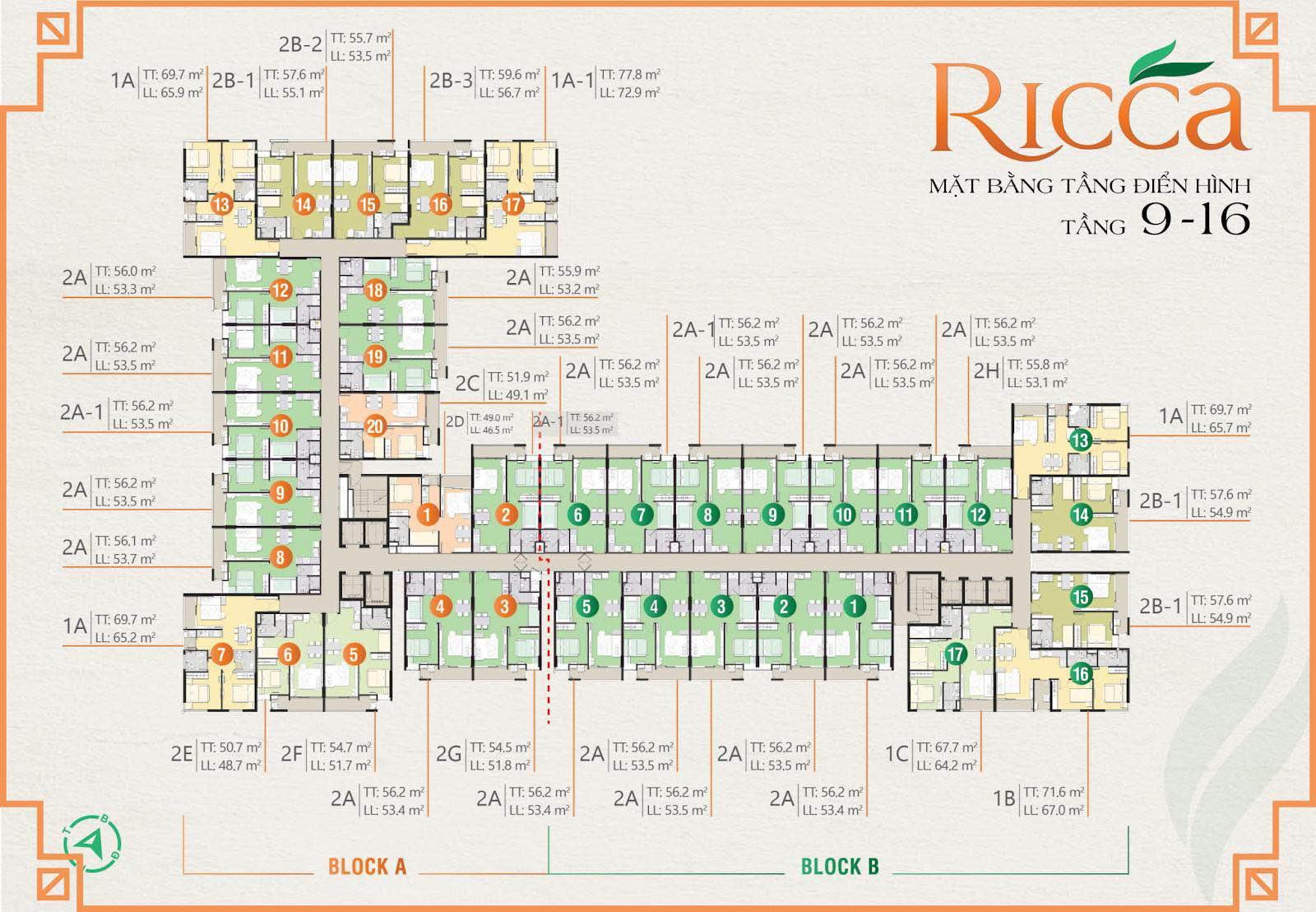 Mặt bằng chi tiết dự án căn hộ Ricca Quận 9 từ tầng 9 đến tầng 16