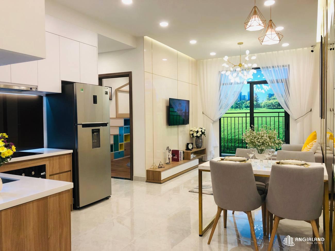Thiết kế phòng khách nhà mẫu 67m2 Saigon Asian