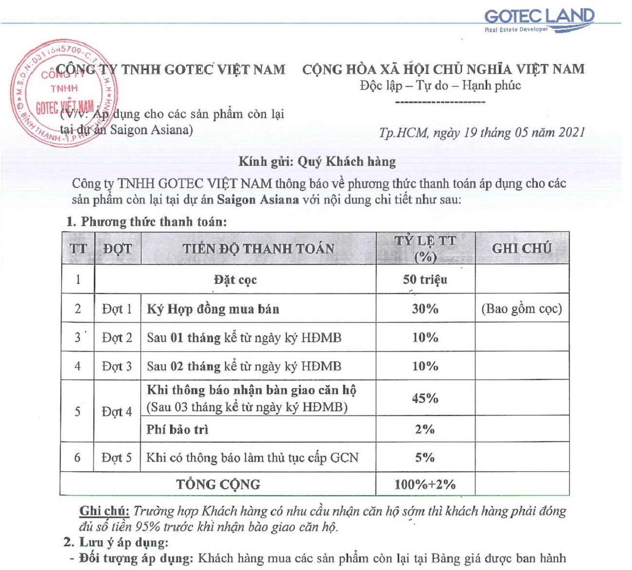 Phương thức thanh toán Saigon Asiana Quận 6