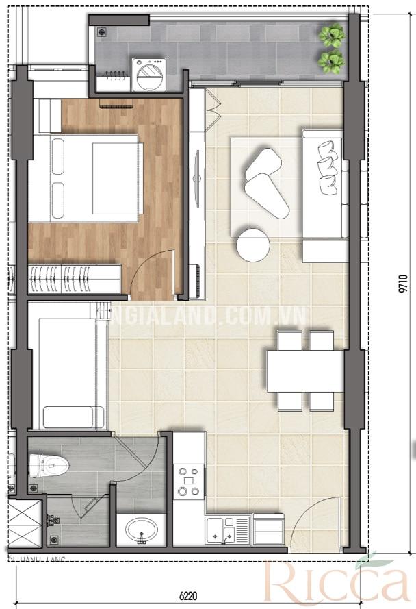 Thiết kế dự án căn hộ Ricca Quận 9 căn hộ điển hình