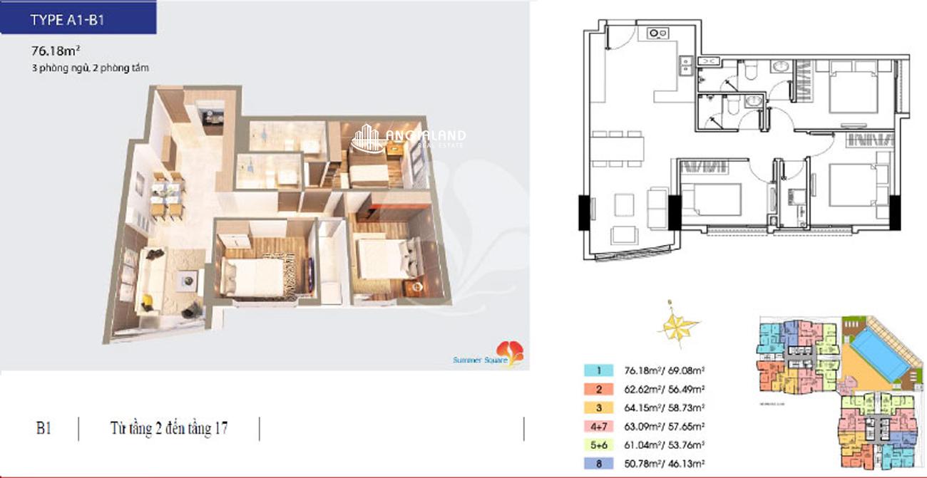 Thiết kế chi tiết căn hộ A1-B1 Summer Square Quận 6