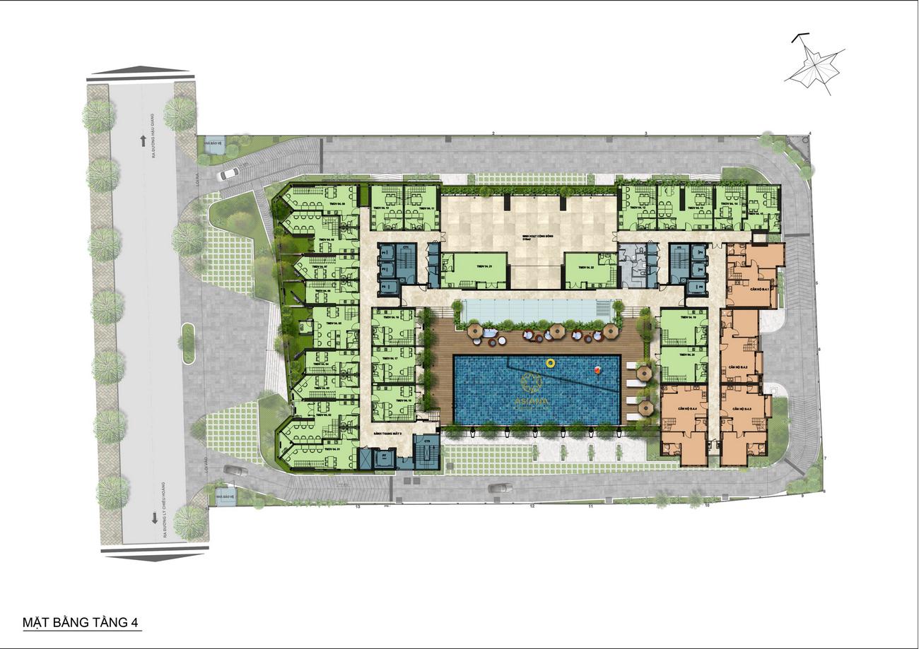 Mặt bằng tầng 04 lửng dự án căn hộ chung cư Asiana Capella đường Trần Văn Kiểu Quận 6 - Liên hệ 0942.098.890 hỗ trợ mua bán + cho thuê